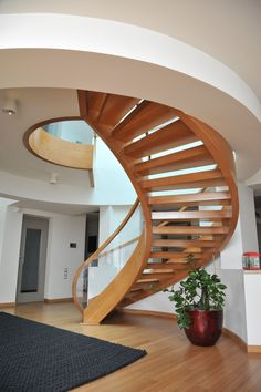 Spiral Wooden Stair I Private Residence, Greece @Xyloskal  #Stair #Oak #Wood #Spiral