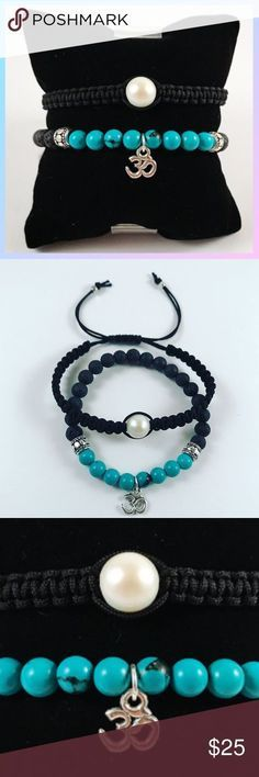 Women boho turquoise pearl om sign bead bracelets Women bracelets set . Bead bracelet Fits most 5.5 to 7.5 inch wrist. Macrame with pearl is adjustable fits any wrist . Handmade by me , never worn by anyone. Silver plated Om sign . The blue beads are natural turquoise gemstones beads .Black beads are lava rock ( volcano beads , can also be use for oil and perfum diffusing ) Black silk macrame with one Genuine pearl . I ship fast!!✈️ Bundle and save! ( 10 % off bundles ) . Any questions let…