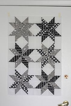 Finished up my Starflower quilt top today!  I used this block from Modify Tradition.  I am pretty happy with how it has turned out so far.  I used four of my favorite black and white Alexander Henry prints.    I think I'll probably use left over scraps for the backing since it will be on the wall and probably a black and white polka for the binding :)  Blogged
