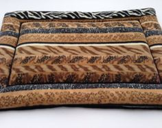 """African Safari Stripes Dog Crate Pad, Pet Bed Cushion, Fleece Crate Pad, Fleece Dog Bed. Fits 24x36"""" crates. Gifts for Dog Lovers, Dog Gifts"""