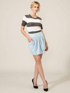 ADAM Chambray Pleated Pocket Skirt