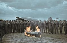 Luftwaffe Heinkel He111 crews hold a symbolic funeral at Tatsinskaya in the fall of 1942. At this point the war was still going