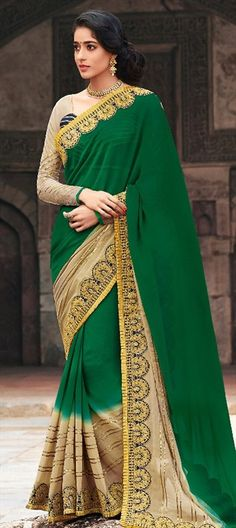 BRIDAL WEAR: beautiful Indian #saree collection for weddings & parties - Order at flat 15% off + free shipping  #bride #IndianWedding #Green #IndianFashion #OnlineShopping #Women #embroidery #lace