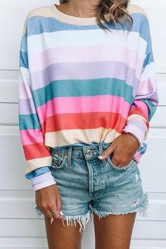 Fashion Rainbow Striped Long Sleeve Blouse - Shirt Casuals - Ideas of Shirt Casual - Moda Fashion, Womens Fashion, Fashion Trends, Denim Fashion, Cheap Fashion, Trendy Fashion, Stripes Fashion, Fashion Art, Fashion Outfits