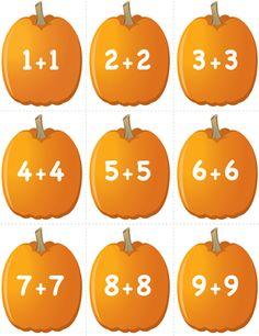 Fuel the Brain Teacher Printables | Download Pumpkin Concentration - Doubles Addition