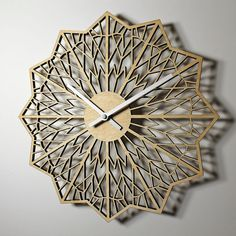 A modern, geometric design wall clock. Made from laser cut birch plywood. Available in natural with a clear polyurethane, or water based matte
