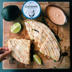 Pulled Buffalo Chicken & Cheddar Quesadillas with Chipotle Lime Crema Made With Chobani!