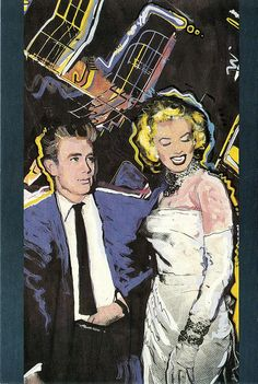 Marilyn Monroe and James Dean. Illustrated postcard, artwork by Tony Cooper. Published by Shoot That Tiger!, England, 1986.
