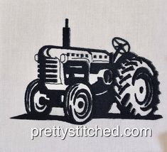 Tractor 1 – Pretty Stitched Afrikaans, Tractors, Machine Embroidery, Monster Trucks, Stitch, Pretty, How To Make, Full Stop, Tractor