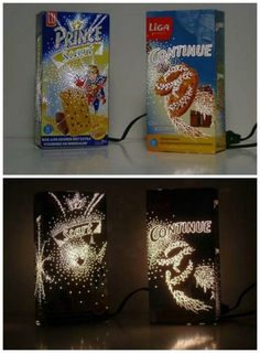 Awesome ways to recycle cereal boxes. Lamp made from cereal box and design punched out with a push pin! Upcycled Crafts, Diy Craft Projects, Diy Crafts For Kids, Recycle Cardboard Box, Cardboard Crafts, Cardboard Playhouse, Cardboard Furniture, Diy Niños Manualidades, Ways To Recycle