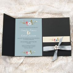 dusty blue floral metal buckle silver satin ribbon pocket wedding invitations