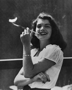 16-year old Jacqueline Bouvier (Kennedy Onassis), 1945 ::: Smoking at 16??!!!!  I knew she hid her smoking as an adult; but had NO idea she smoked so YOUNG.