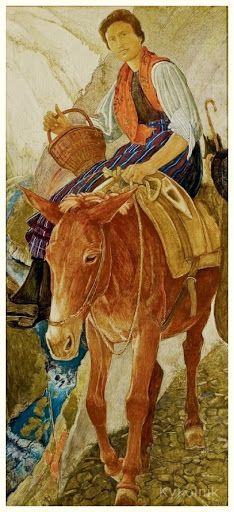 «The beautiful Rose (The Descent of Mayens)»  1937 Ernest Bieler Swiss Painter (1863-1948)