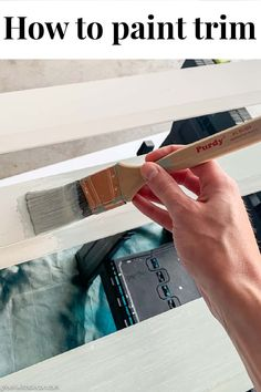 A great tutorial for how to paint trim! This makes it so simple, she even covers the best paint for trim, the best paintbrush for trim and how to paint trim over carpet or flooring. Lots of helpful tips! #greenwithdecor #painting #trim #diy Best Paint For Trim, Paint Trim, Easy Painting Projects, Painting Tips, Nursery Paintings, Cool Paintings, Painted Outdoor Furniture, Painting Shutters, Using A Paint Sprayer