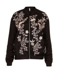 Topshop Flower Embroided Bomber Jacket in Floral (BLACK)   Lyst