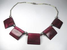 Jakob Bengel Designer Collier Art Deco Bakelit Halskette 30er Modernist #zN1
