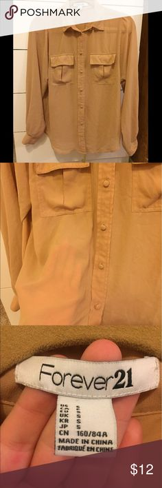 Sheer beige blouse Loose flowy beige blouse that is a bit see through. A tank top underneath is needed. Size small from forever21 super cute to wear to work, dinner, out with friends! Forever 21 Tops Blouses