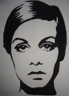 Pop Art Twiggy by LanniePossum on DeviantArt Art And Illustration, Illustrations, 3 Piece Canvas Art, Black Art Painting, Art Deco Mirror, Beautiful Sketches, Stencil Art, Stenciling, Portrait Sketches