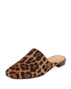 STUART WEITZMAN MULEARKY CALF HAIR LOAFER MULE, LEOPARD. #stuartweitzman #shoes #