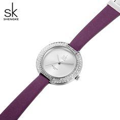 SK Women Watches New and Unique Dial Rhinestone Case Simple Dial Purple Leather Bracelet Female Quartz Movement Wristwatches Cute Fashion, Womens Fashion, Mens Gear, Cool Gear, Purple Leather, Wristwatches, Bluetooth, Underwear, Headphones