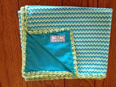 Aqua Chevron baby blanket