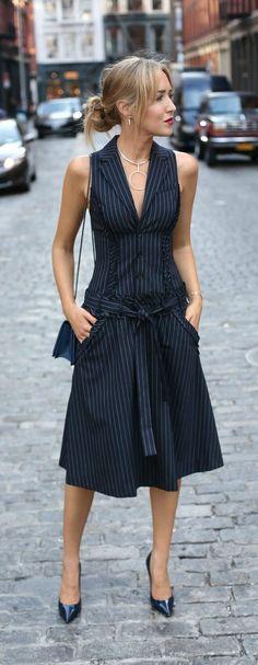 pinstripe drop waist dress, navy patent leather pumps, navy crossbody bag, silver statement necklace, messy bun + bold lip {marissa webb, jimmy choo, phillip lim, argento vivo}