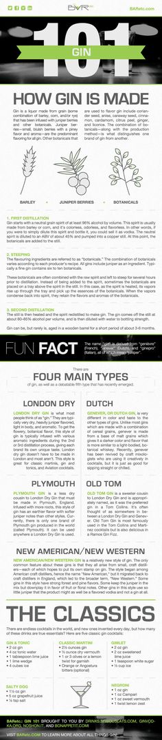 Spiritsfully likes great infographics : Gin 101 Infographic, designed by Emily Harris, Graphic Design Coordinator at BARetc. Cocktail Drinks, Alcoholic Drinks, Beverages, Cocktail Recipes, Whisky, O Gin, Gin Tasting, Gin Recipes, Gin Bar