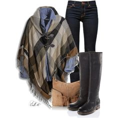 A fashion look from January 2015 featuring brown cape, straight leg jeans and suede purse. Browse and shop related looks.