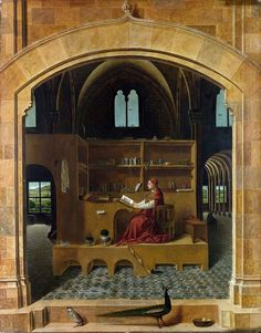 St. Jerome in His Study, Antonello da Messina, thought to have been completed around 1460-1475.  National Gallery, London. T