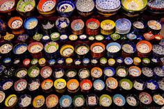 Colorful bowls line the streets of the bazaar in Istanbul. Turkey Art, Visit Istanbul, Passport Stamps, Grand Bazaar, World Images, Turkey Travel, Istanbul Turkey, Far Away, The Places Youll Go