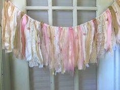 fabric banner burlap  garland shabby pink fringe by AgoVintage