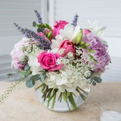 Feminine mix featuring roses, hydrangeas, and peonies in a bubble bowl. Summer Flower Arrangements, Funeral Flower Arrangements, Rose Arrangements, Beautiful Flower Arrangements, Funeral Flowers, Flower Centerpieces, Flower Decorations, Beautiful Flowers, Wedding Flowers