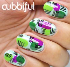 Nailpolis Museum of Nail Art | Three Shades of Green by Cubbiful