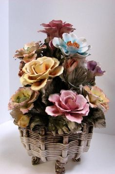 Large Vintage Capodimonte Flower Arrangement