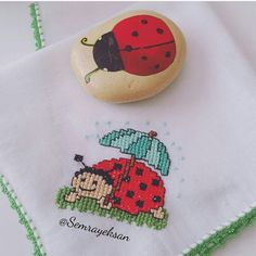 Cross Stitch Patterns, Coin Purse, Embroidery, Crochet, Youtube, Cross Stitch For Baby, Sew Baby, Ladybugs, Border Tiles