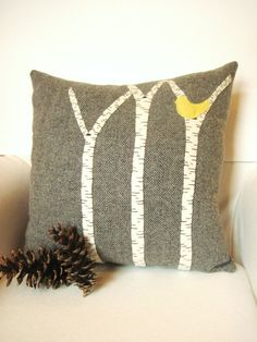 Decorative Throw Pillow / Birch Tree Pillow / Rustic Cabin Pillow / Gray Pillow  / Yellow, Red, Blue Bird / 16 Inch Square