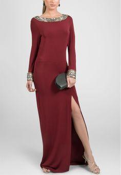 Vestido longo de malha com aplicação de pedras e fenda Mixed - powerlook