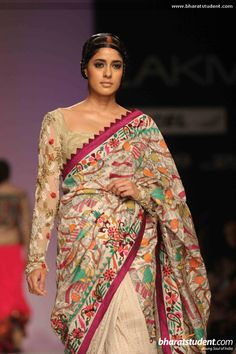 Lakme fashion week over pins Lakme Fashion Week, India Fashion, Indian Dresses, Indian Outfits, Kalamkari Designs, Hand Painted Sarees, Saree Floral, Kurta Patterns, Desi Wear