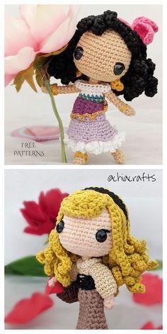 Crochet Diy, Crochet Kawaii, Crochet Crafts, Doll Amigurumi Free Pattern, Crochet Doll Pattern, Knitting Projects, Crochet Projects, Crochet Mignon, Crochet Princess