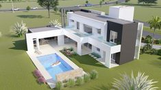 A & E - Architecture and Entrepreneurship Bungalow House Design, Modern House Design, Casas The Sims 4, Dream House Exterior, Modern Architecture House, Modern House Plans, Home Design Plans, House Layouts, House Goals