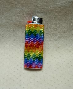 Peyote Stitched Classic Bic Lighter Cover // Removable Beaded Lighter Cover by BlackstreaksBeads on Etsy