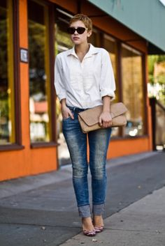 jeans, white shirt and short haircut