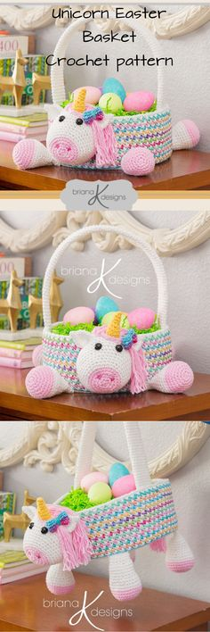 Unicorn Easter Basket Crochet PATTERN Instant Download, Toy Storage Basket, easter gift ideas, gift idea for children, gift idea for girls, paasmand, haakpatroon, craft idea, diy idea #crochet #easter #easterbasket #unicorn #pattern #diy #craft #gift #eenhoorn #pasen