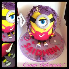 A girlie minion cake with MacBook & converse runners! https://www.facebook.com/caketastic.cavan?ref=hl