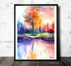 Sunsets Landscape watercolor  painting print nature by SlaviART, $25.00