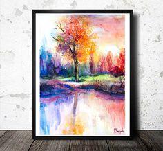 Sunsets Landscape watercolor  painting print, nature art, watercolor landscape, landscape painting, original watercolor, illustration