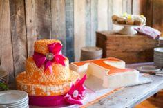 orange and fuchsia wedding cakes  http://www.yellowvase.com/