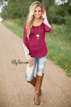 1c8dae791b1e50 Crochet My Heart Top in Burgundy Casual Work Wear, Filly Flair, Bohemian  Style Clothing