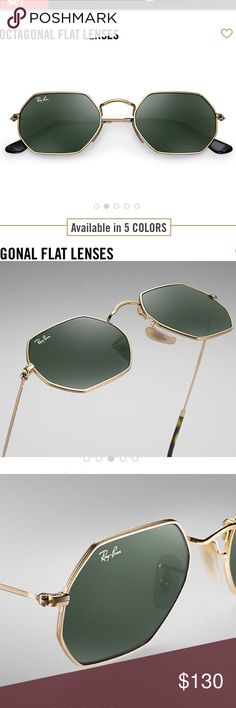 Ray-ban | octagonal flat lens sunglasses PRODUCT DETAILS Model code: RB3556N 001 53-21 FRAME & LENSES  Frame material: Metal Frame color: Gold Lenses: Green Classic G-15 SIZE  Shape: Hexagonal Size Lens-Bridge: 53 21 Temple Length: 145 BRAND NEW AND UNWORN/ comes with case / cleaning cloth and rayban box Ray-Ban Accessories Sunglasses