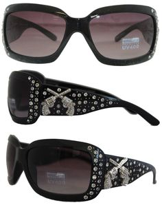 9257a280fc7 Montana West Ladies Sunglasses Crossed Pistols Concho UV 400 Protection  Black